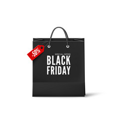 black friday poster black paper bag with discount vector image