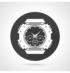Black round icon for sport wrist watch vector image