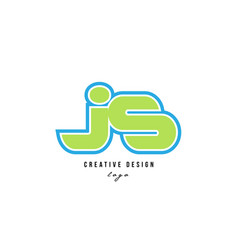 Blue green alphabet letter js j s logo icon design vector