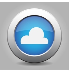 Blue metal button with weather - cloudy vector