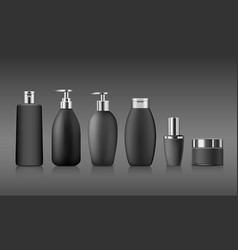 Bottle black products with silver cap collection vector