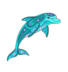 Bottle-nosed dolphin - linear color vector
