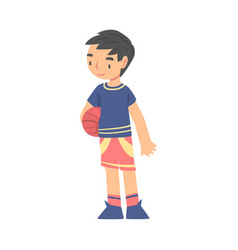 boy playing with ball kid doing sports healthy vector image