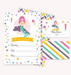 bright invitation card with cute fairy mermaid vector image