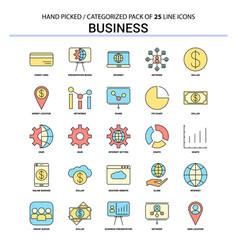 business flat line icon set - business concept vector image