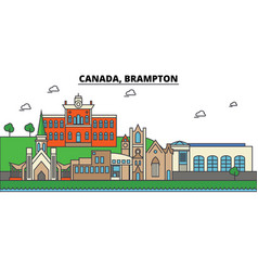 canada brampton city skyline architecture vector image