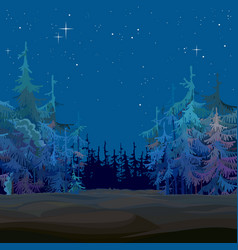 Cartoon fairy-tale fir forest starry blue at night vector