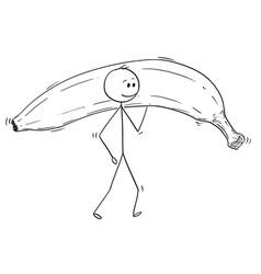 Cartoon of man carrying big ripe banana fruit vector