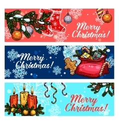 Christmas and New Year festive banner set vector image