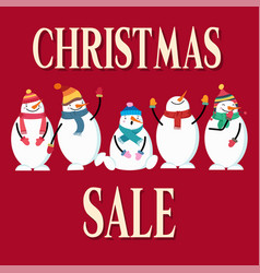 Christmas sale poster with snowman vector