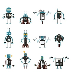 Collection of cyan robot icons vector
