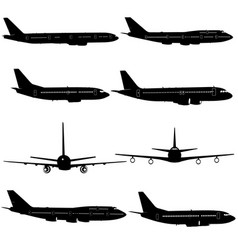 collection of different aircraft silhouettes vector image