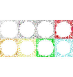 colored round border background design set with vector image