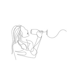 Continuous one line woman tastes wine degustation vector