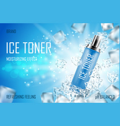 Cooling ice toner with ice cubes realistic frozen vector