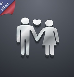 Couple in love icon symbol 3D style Trendy modern vector