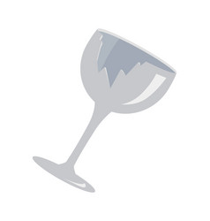 Cracked wine glass object vector