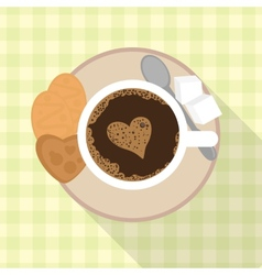 Cup of coffee with cookies and sugar vector