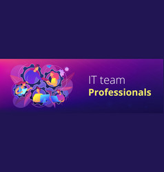 Dedicated team it header or footer banner vector