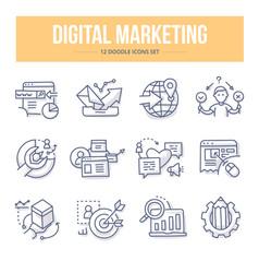 Digital marketing doodle icons vector