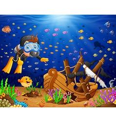 Diver under the sea vector