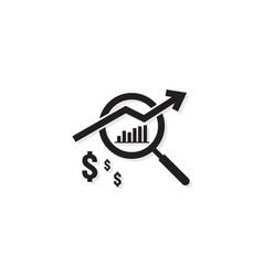 Dollar increase revenue icon money symbol with vector