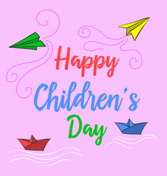 Doodle childrens day colorful style vector