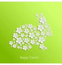 Easter Rabbit Bunny of White Flowers vector image
