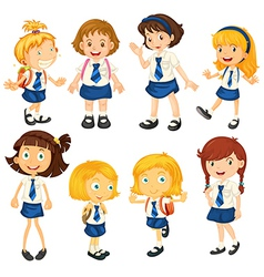 Eight schoolgirls in their uniforms vector