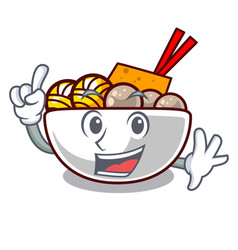 finger meatballs are served in cartoon bowl vector image
