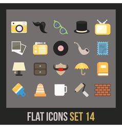 Flat icons set 14 vector
