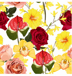 floral seamless pattern with red roses flowers vector image