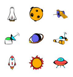 Galaxy icons set cartoon style vector