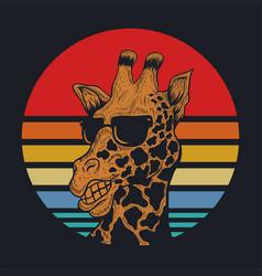 Giraffe sunset vector