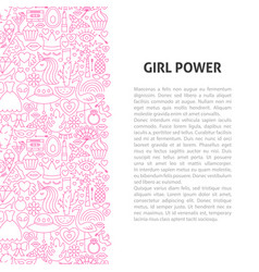 Girl power line pattern concept vector