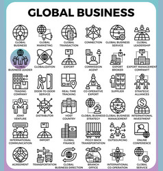 Global business concept icons vector