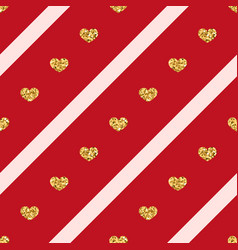 gold hearts line seamless pattern vector image
