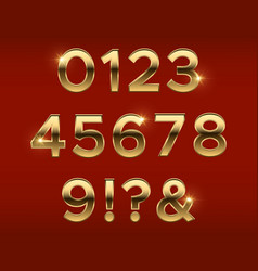 golden numbers gold 3d figures stylish vector image