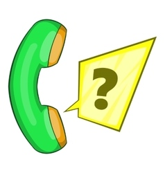 Green handset icon flat style vector