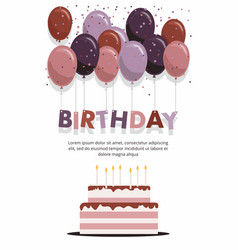 happy birthday card with cake and balloons vector image