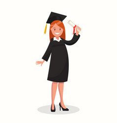 Happy girl graduating vector