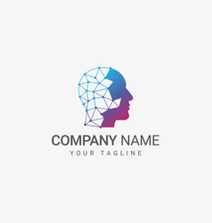 head logo template vector image