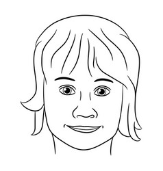 head of a teenage girl from the black contour vector image