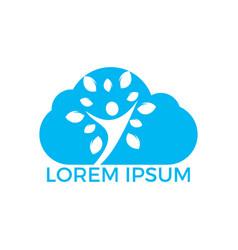 human cloud tree logo design vector image