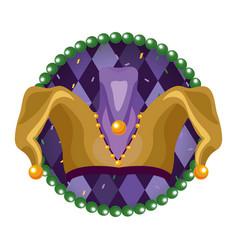 Jester hat round icon vector