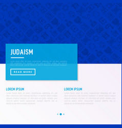 Judaism concept with thin line icons vector
