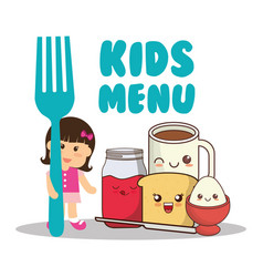Kids menu girl fork breakfast diet vector