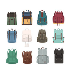 Large collection of fashionable backpacks or vector