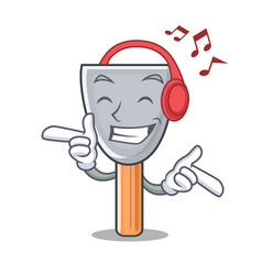 Listening music cartoon putty knife in plaster vector