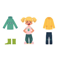 Little girl child kid and her autumn clothes vector